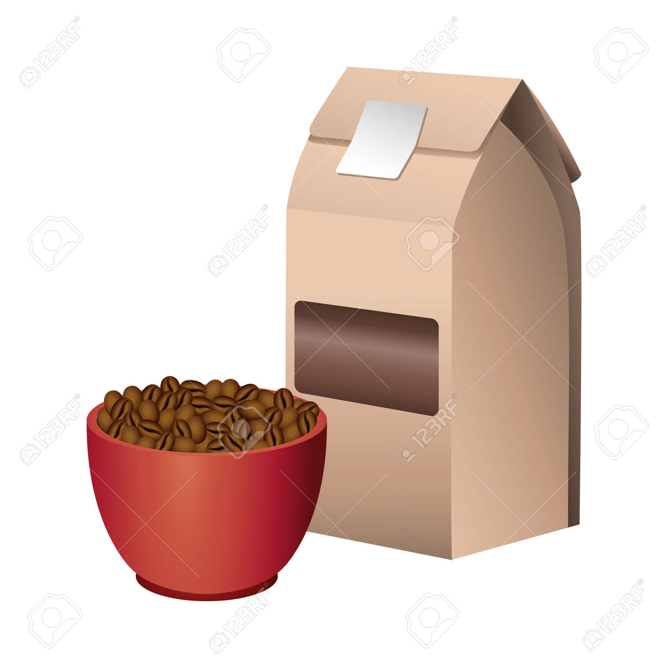 coffee product packing box with grains in cup vector illustration design - 158043380