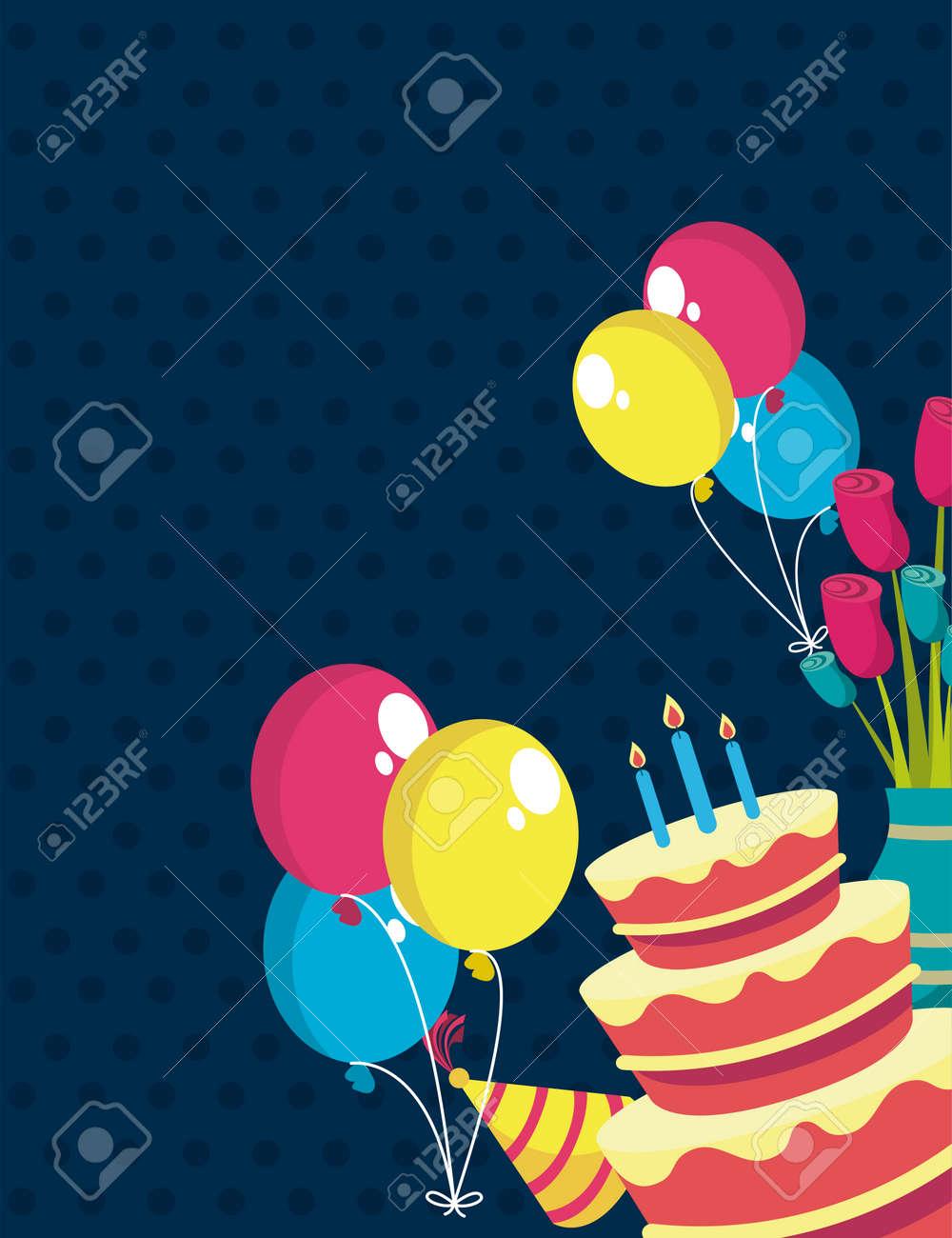 happy birthday party set icons - 165208737