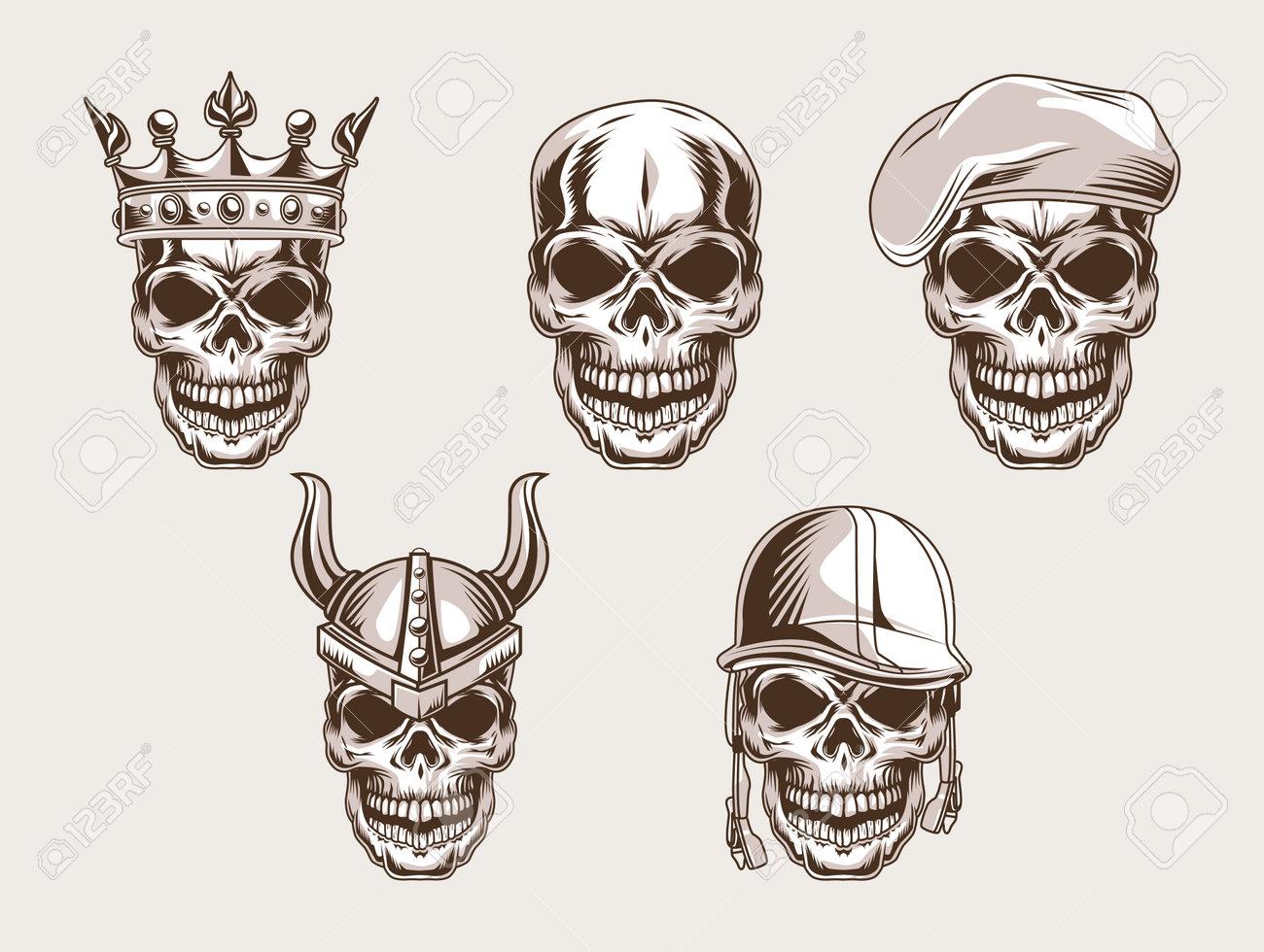 skulls heads set style icon - 165208899