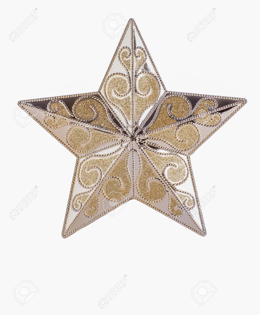 Gold patterned star on white background with copy space Stock Photo - 20327655
