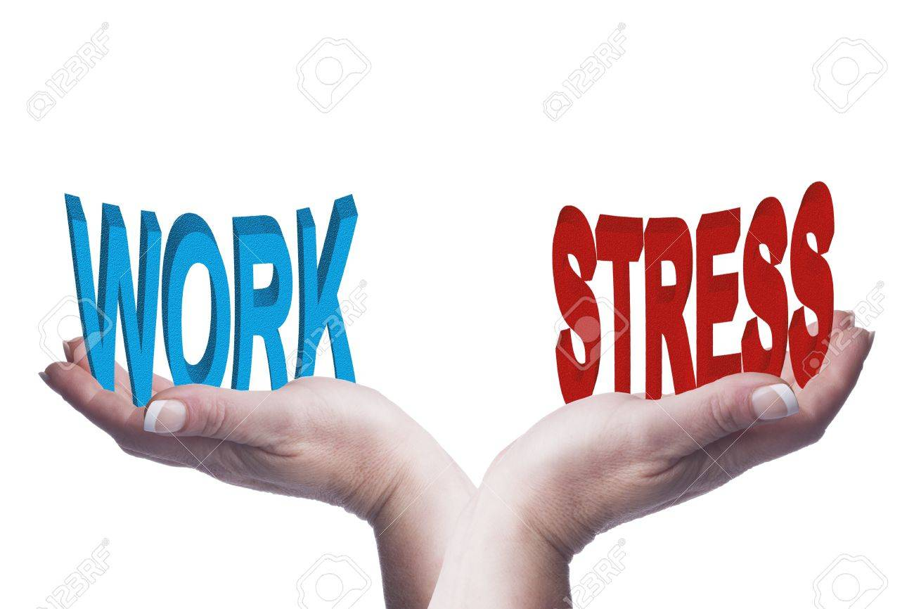 Female hands balancing work and stress 3D words conceptual image representing lifestyle choices, work life balance and mental health ideas Stock Photo - 20709693