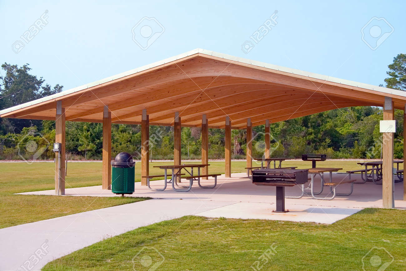 Picnic Tables And Grill Under Wood Roof Structure In Local Park Stock Photo Picture And Royalty Free Image Image 960917