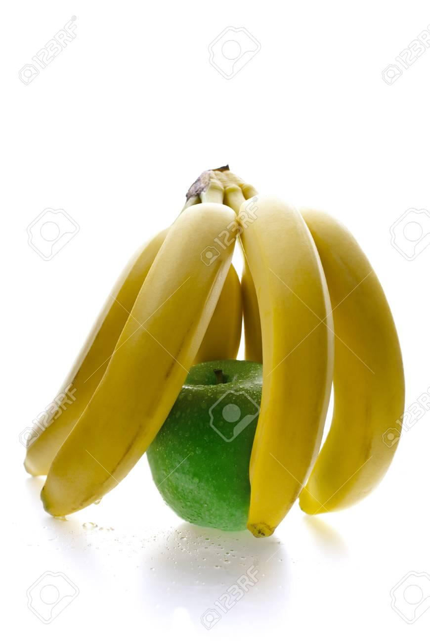 Close up of green apple behind the banana bars Stock Photo - 13401134