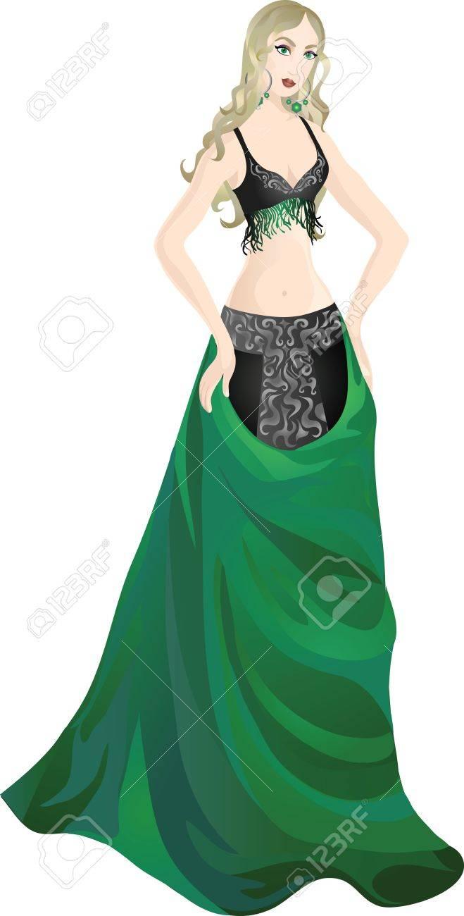 Beautiful girl in enchanting belly dance costume Stock Vector - 12481932