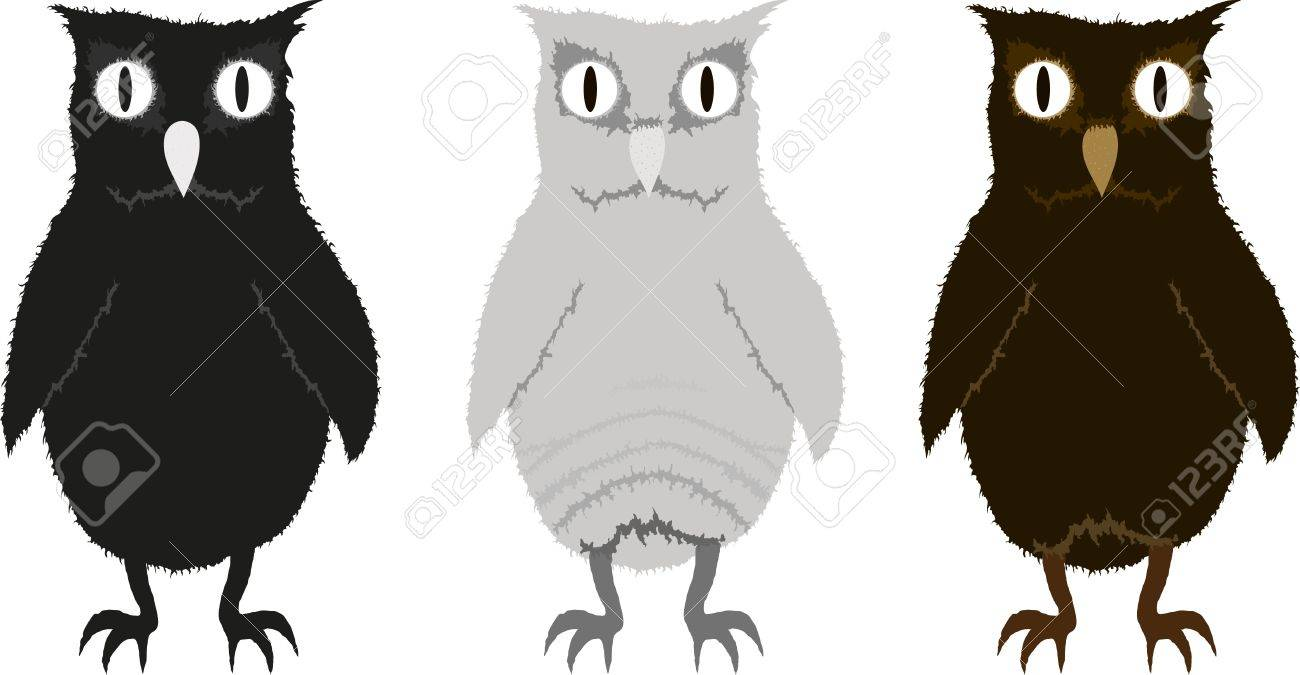 Set of three funny owlets Stock Vector - 12482494