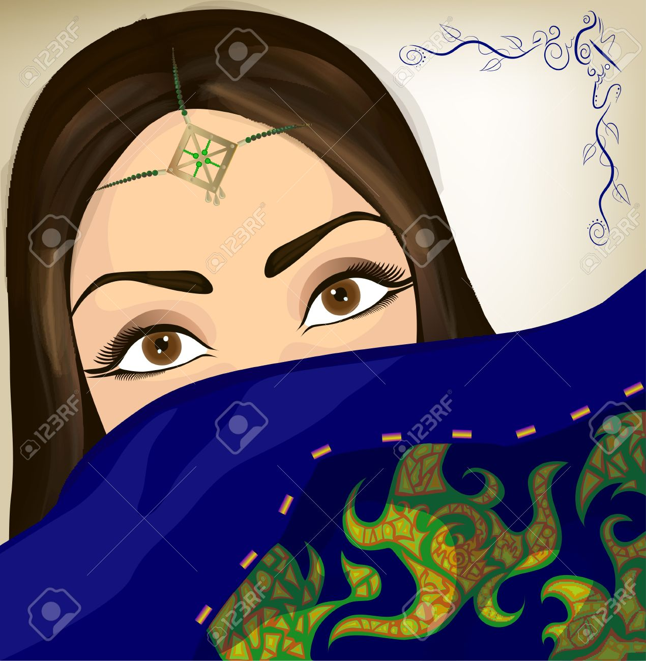 Beautiful oriental woman with ornament and colorful embroidered shawl Stock Vector - 13052373