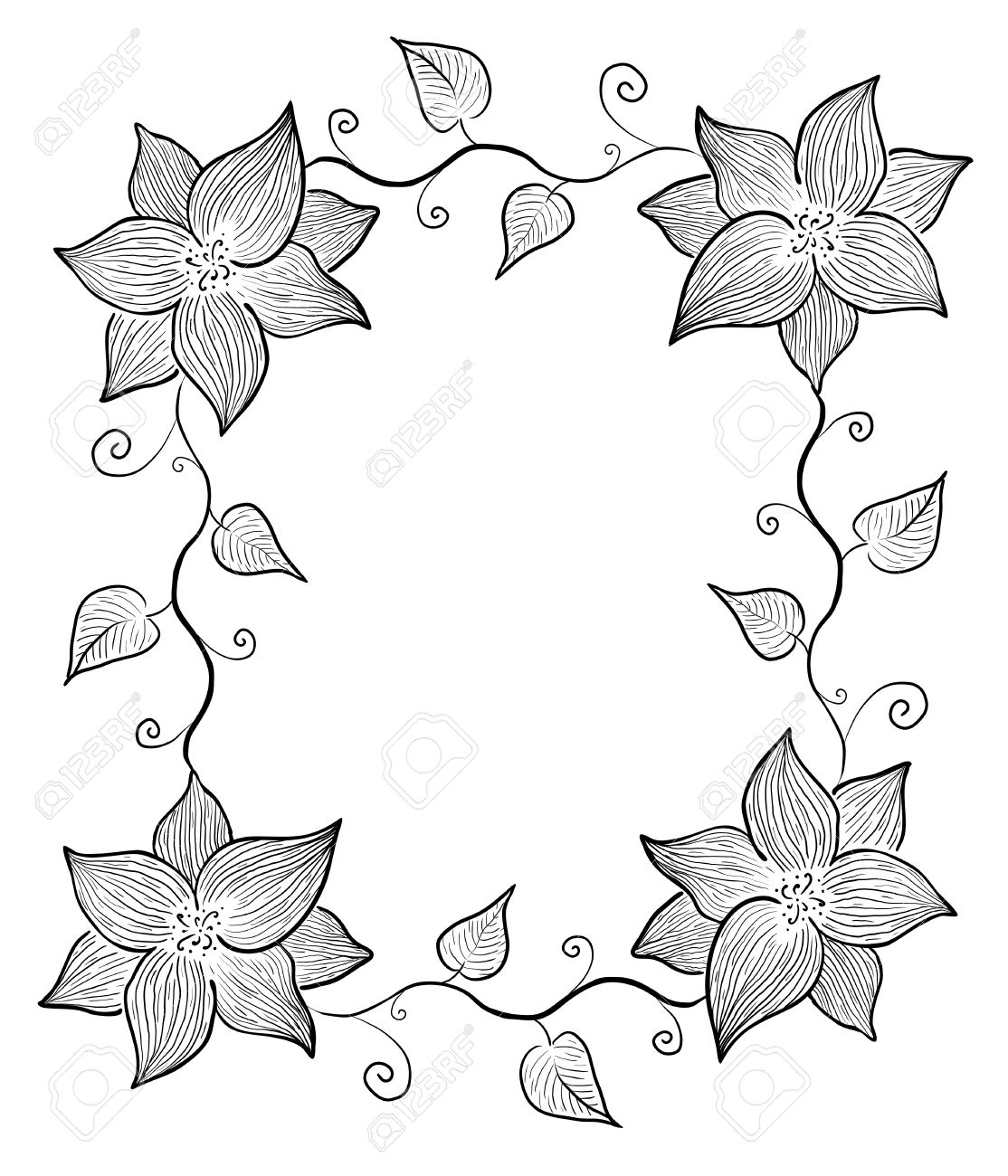 Decoración En Blanco Y Negro Flores Marco Y Las Hojas