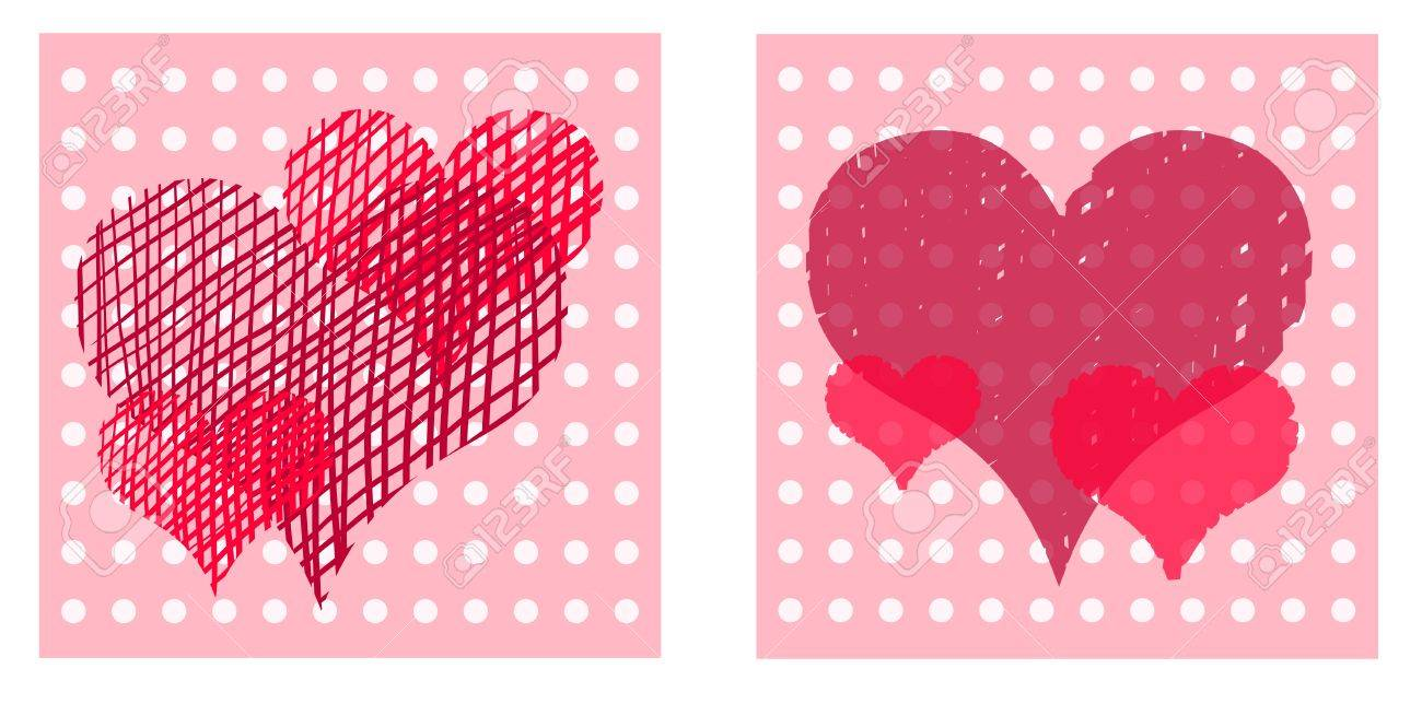 Beautiful Valentine Cards With Decorative Hearts On Dotted Light – Beautiful Valentine Cards