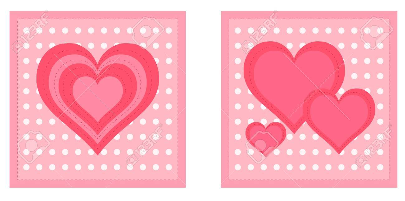 Beautiful Valentine Cards With Decorative Hearts On Dotted Light