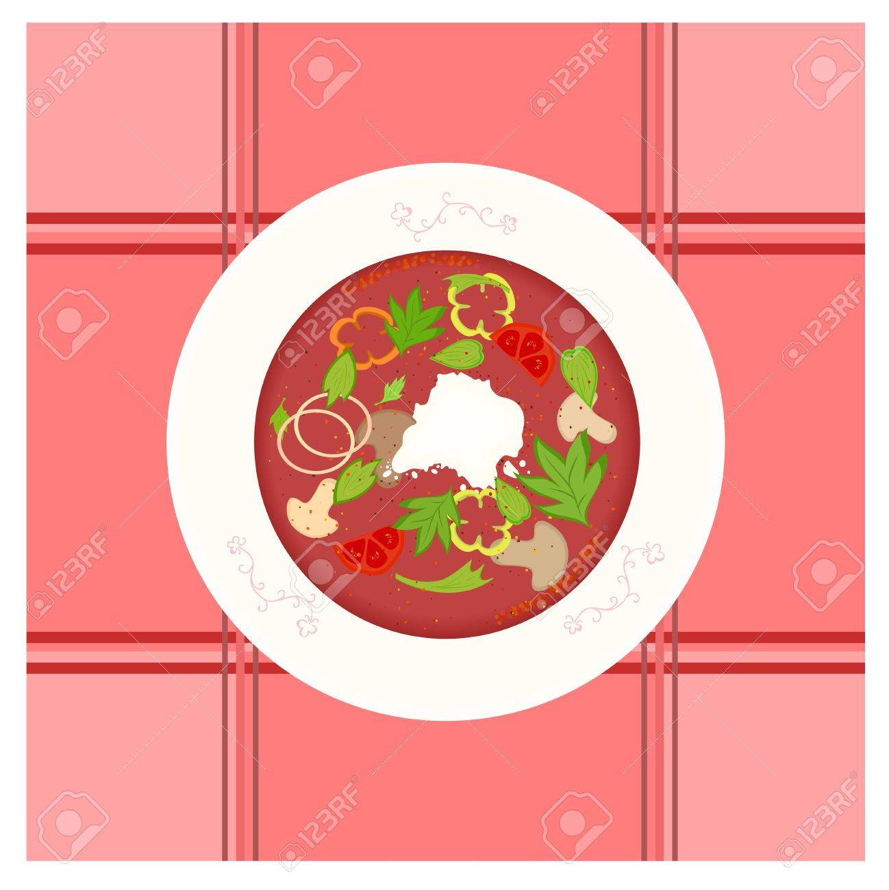 colorful vector illustration of mushroom and vegetable borsch soup in decorated plate. Stock Vector - 15202159