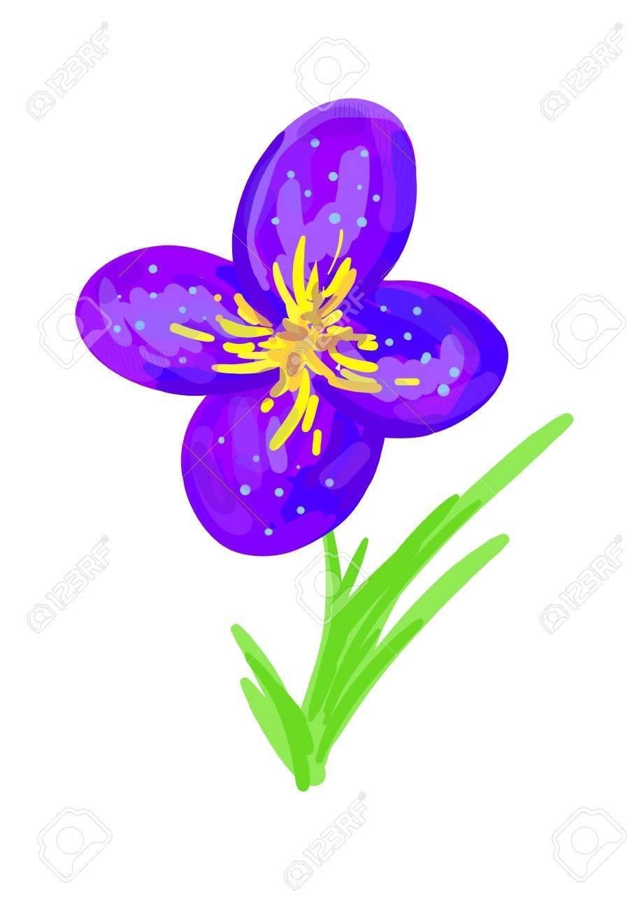 Decoratif Dessin Stylise Fleur Violette Clip Art Libres De Droits