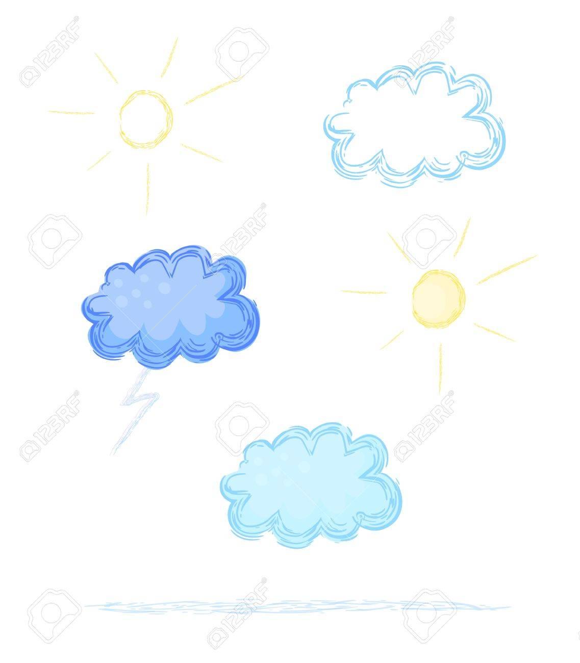 Eps 10 vector weather sketch illustrations Clouds, lightning,