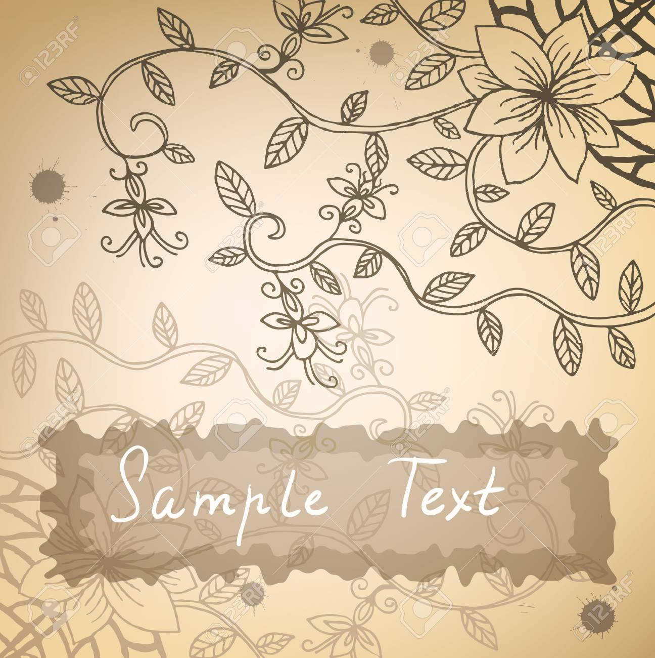 Vintage stylized floral background with ink stains and place for your text. Stock Vector - 16710504