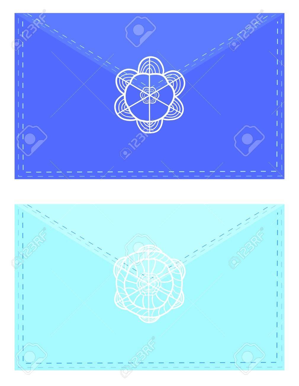 Decorative envelopes sealed with artistic snowflake stamp Stock Vector - 16707561