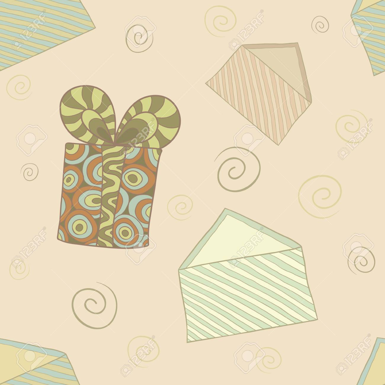 seamless pattern with beautiful stylized gift boxes and envelopes in retro colors Stock Vector - 16939030