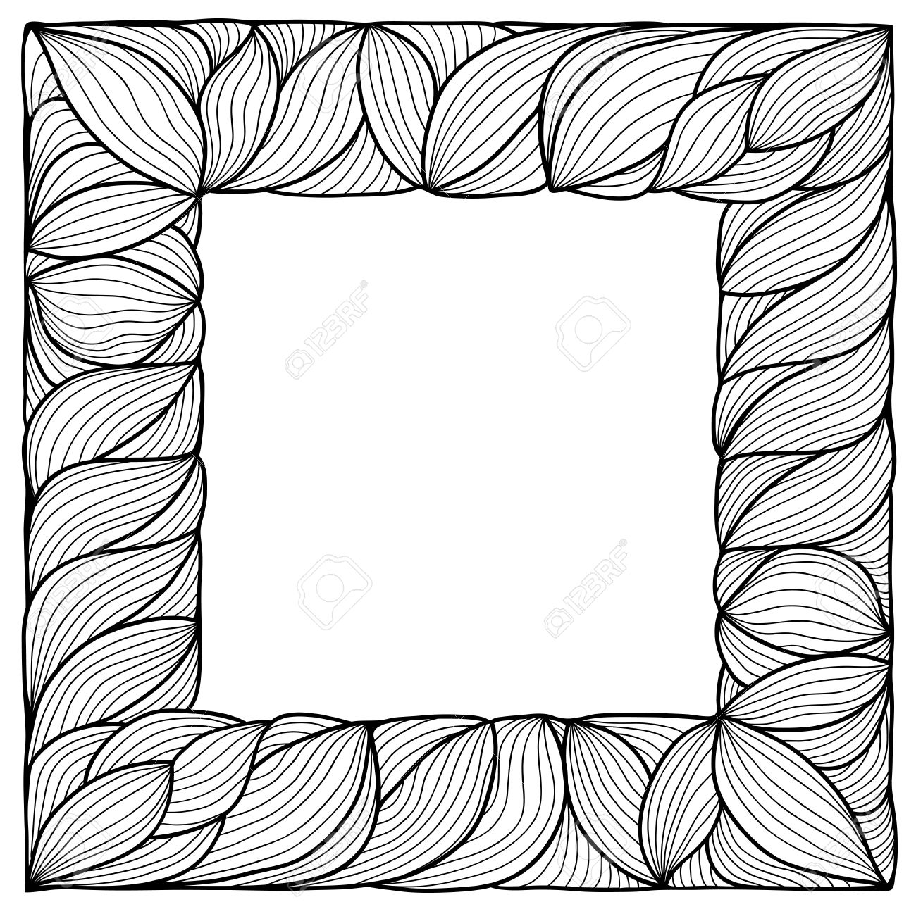 artistic hand drawn square frame black and white variant stock vector 16939010