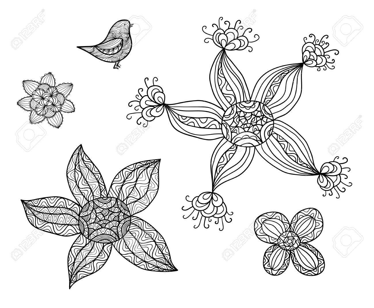 Collection of hand drawn doodles, black and white sketches Stock Vector - 18640540