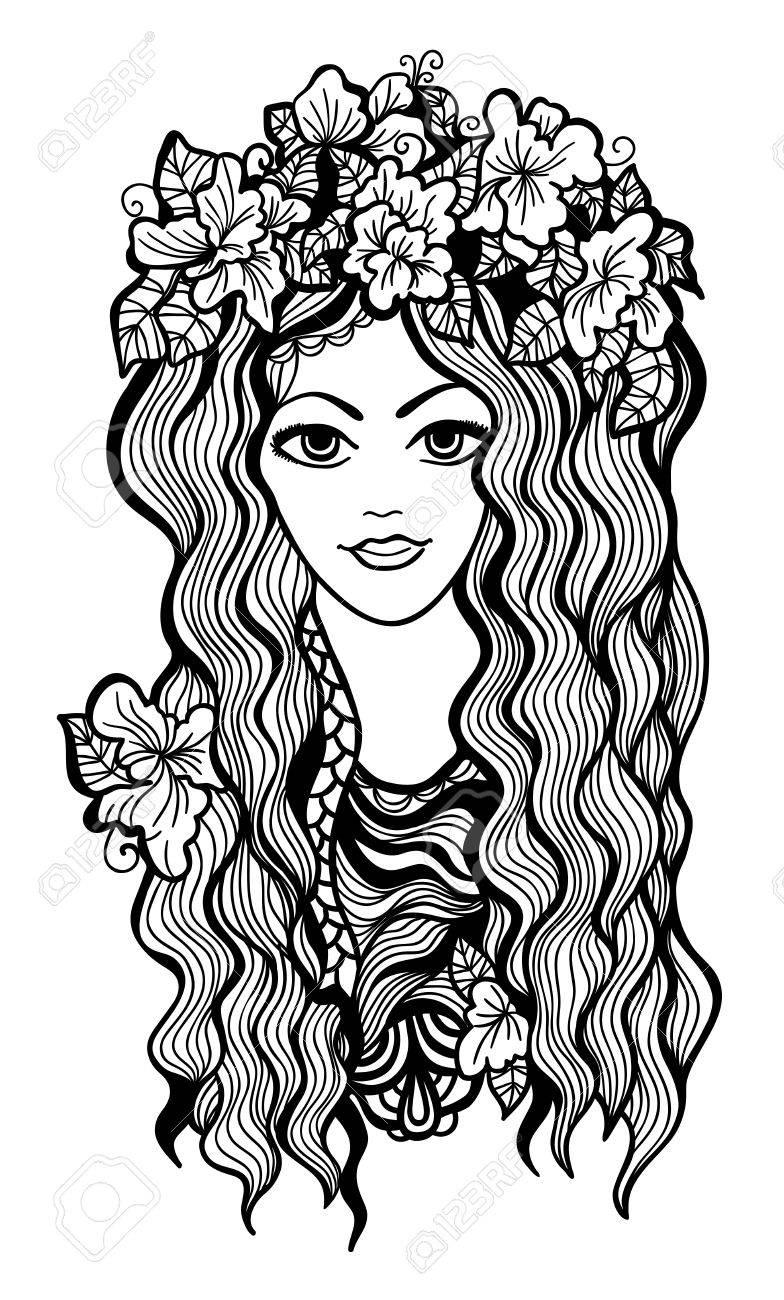 Belle Fille En Noir Et Blanc Avec Le Dessin De Couronne De Fleurs