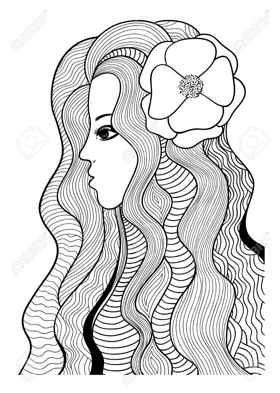Beautiful Girl With Flower Black And White Stylized Illustration