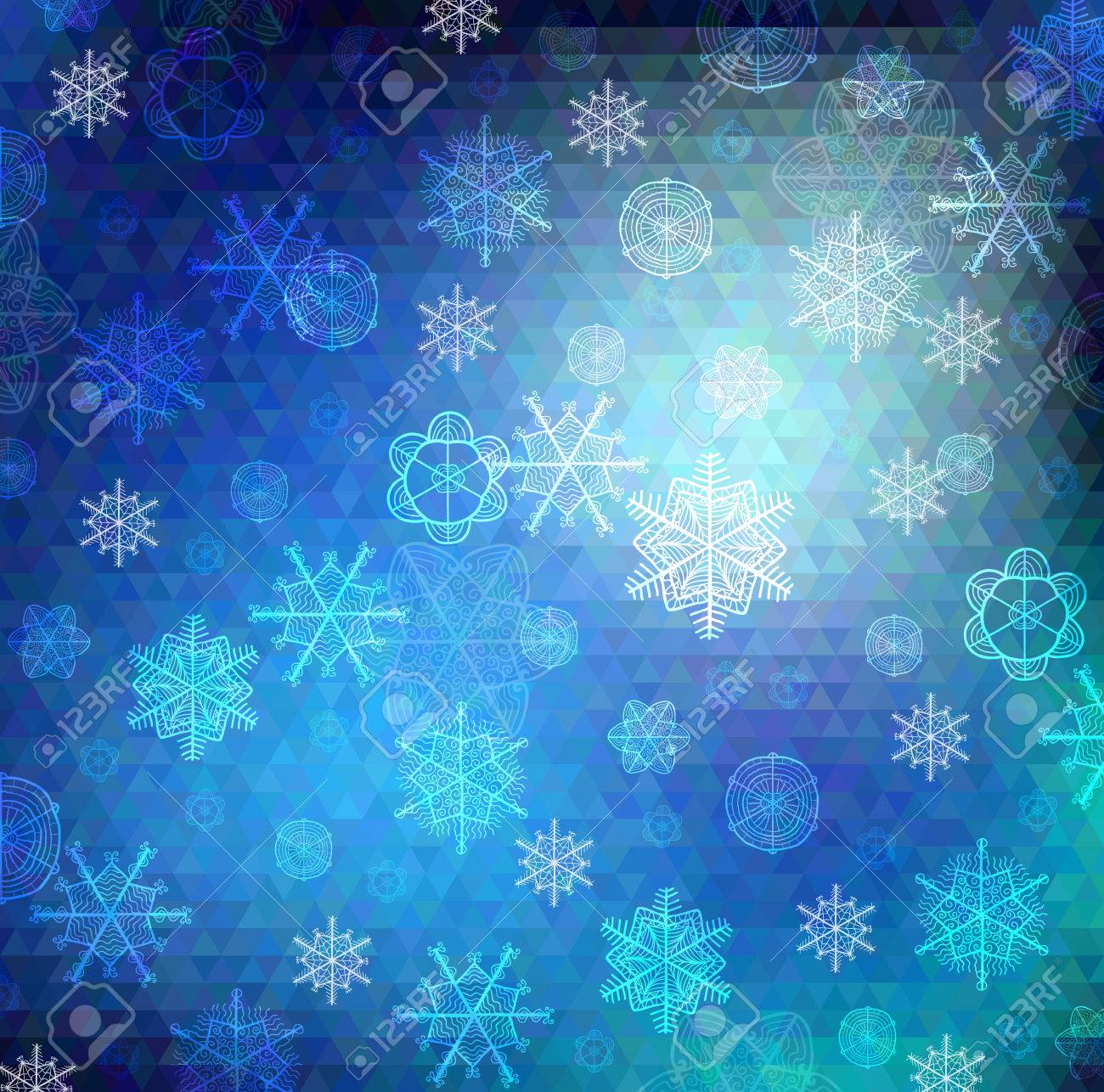 Vector background. Hand drawn snowflakes on varied colors blue poygon backdrop Stock Vector - 23210258