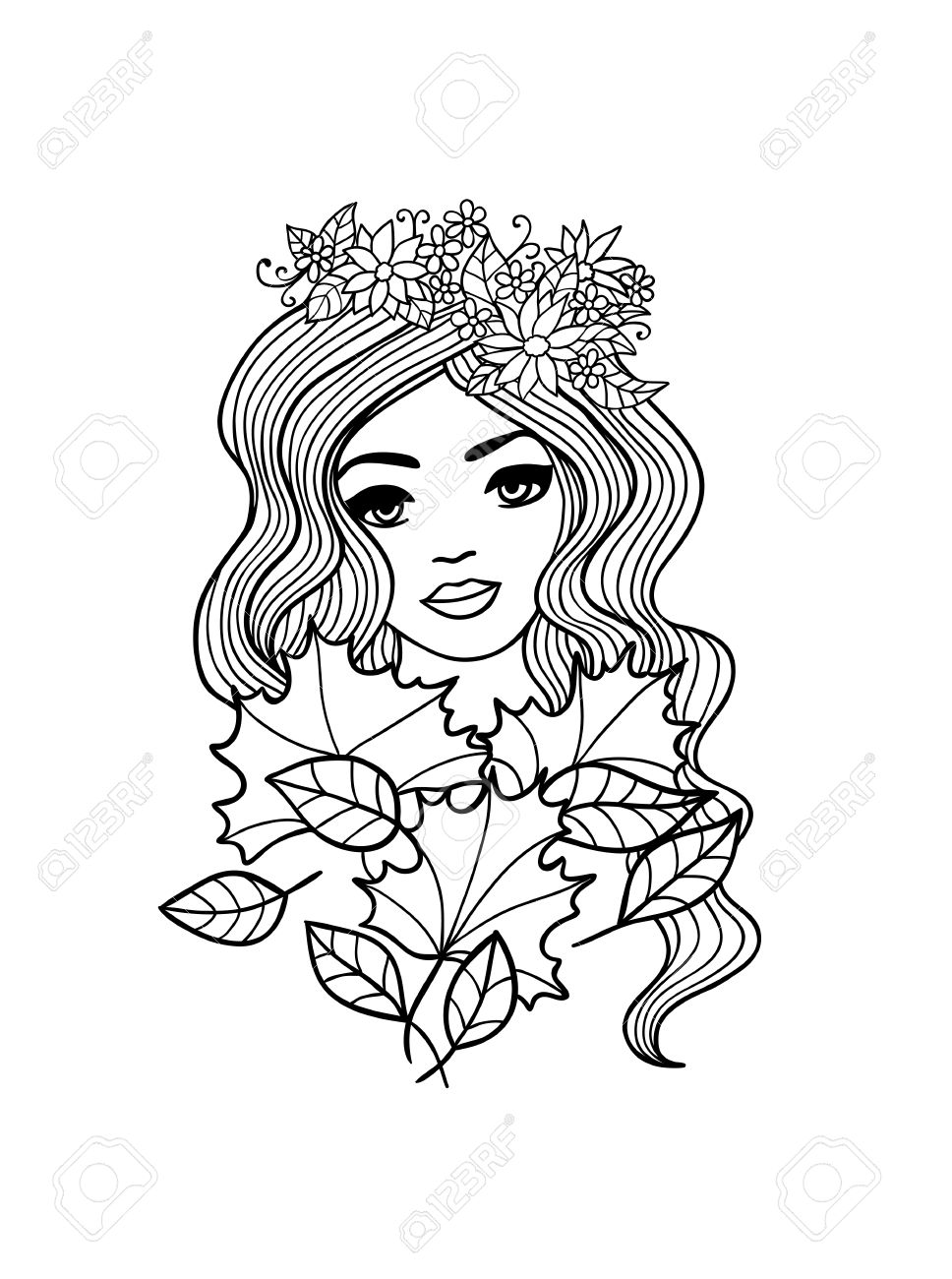 Black And White Outline Girl With Fall Leaves Illustration Hand