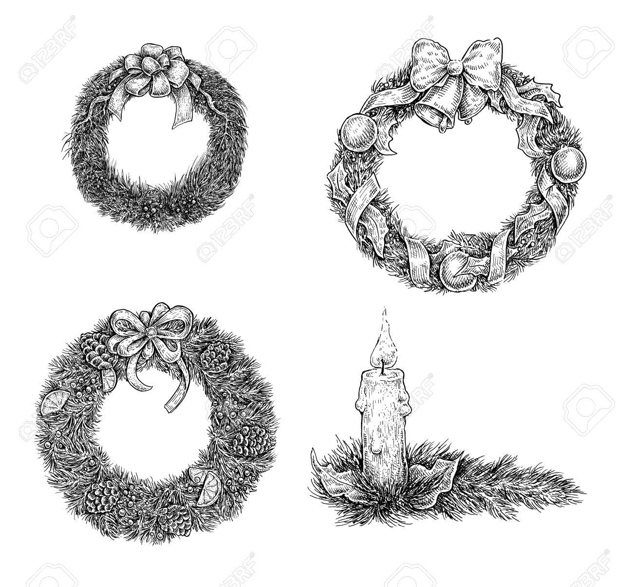 Drawings Of Christmas Wreaths.Set Of Christmas Design Elements Hand Draw Ink Xmas Wreaths