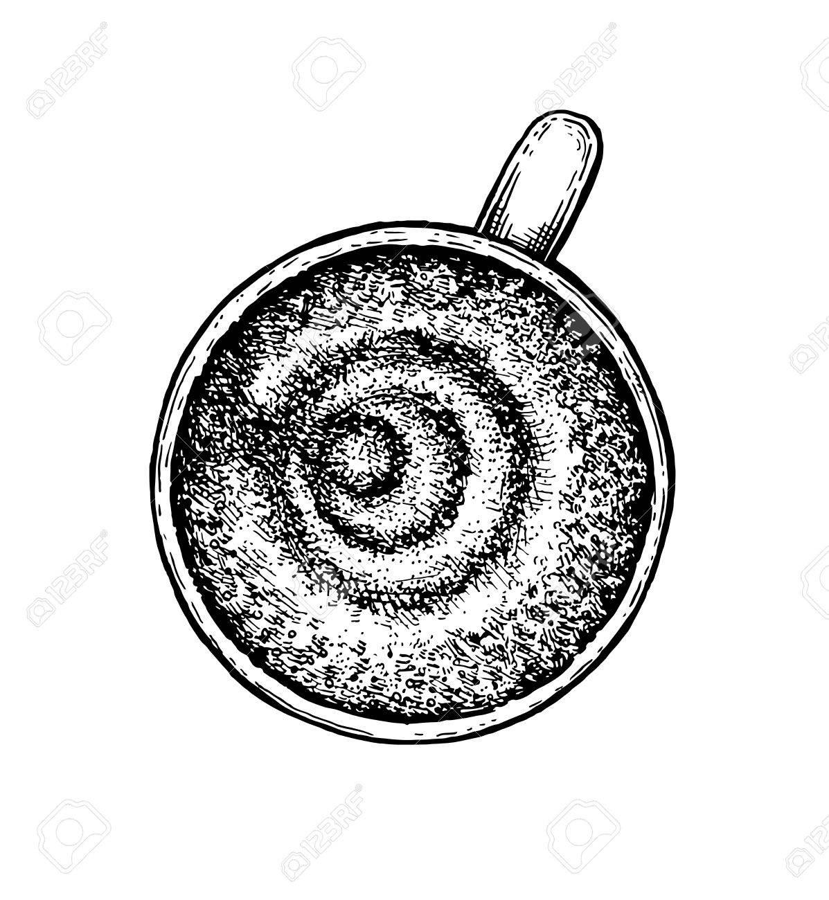 Schwarz Weiß Hand Kaffeetasse Gezeichnet Vektor Illustration