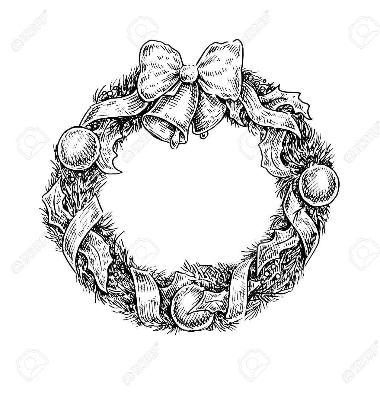 Blanco Y Negro Ilustración De La Vendimia Estilo Incompleto De Una Corona De Navidad Diseño Del Vector Ilustraciones Vectoriales Clip Art Vectorizado Libre De Derechos Image 51122974