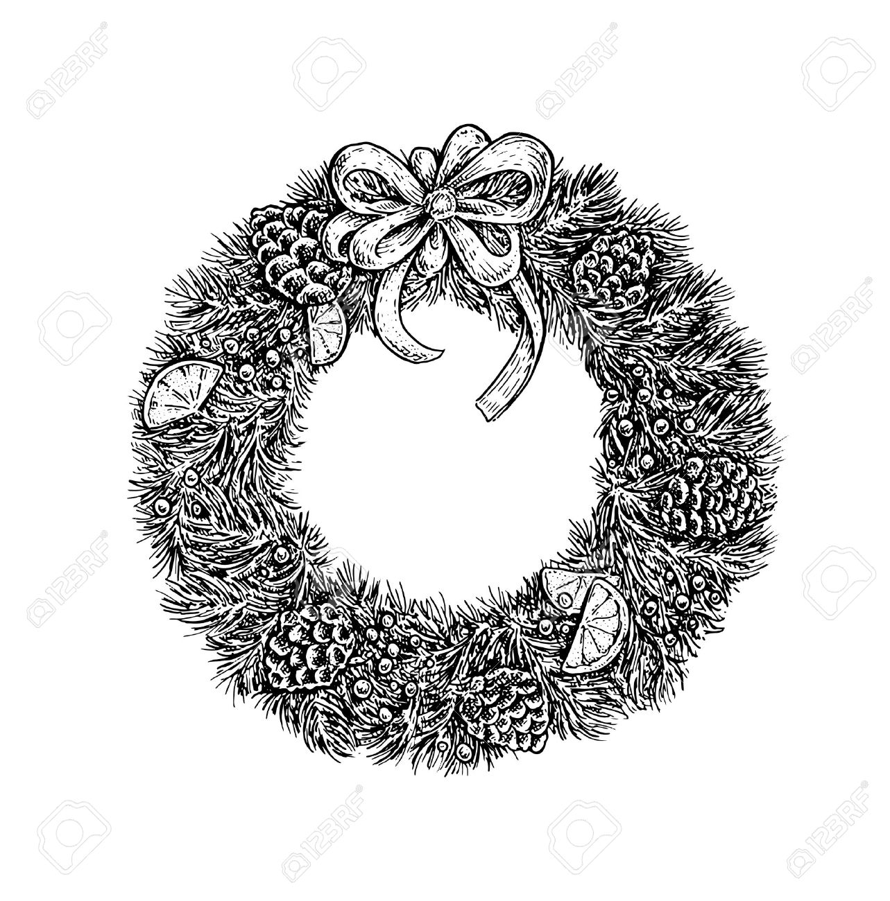 Black And White Vintage Sketchy Style Illustration Of A Christmas Wreath Vector Design Stock