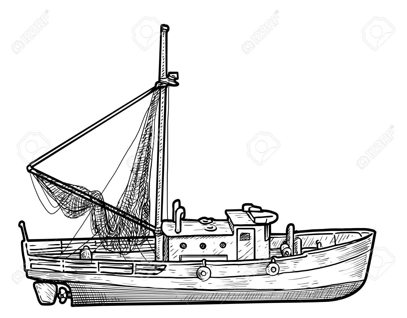 Ejemplo Del Barco De Pesca Dibujo Grabado Tinta Línea Arte