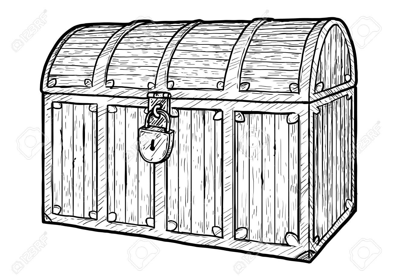 treasure chest illustration drawing engraving ink line art