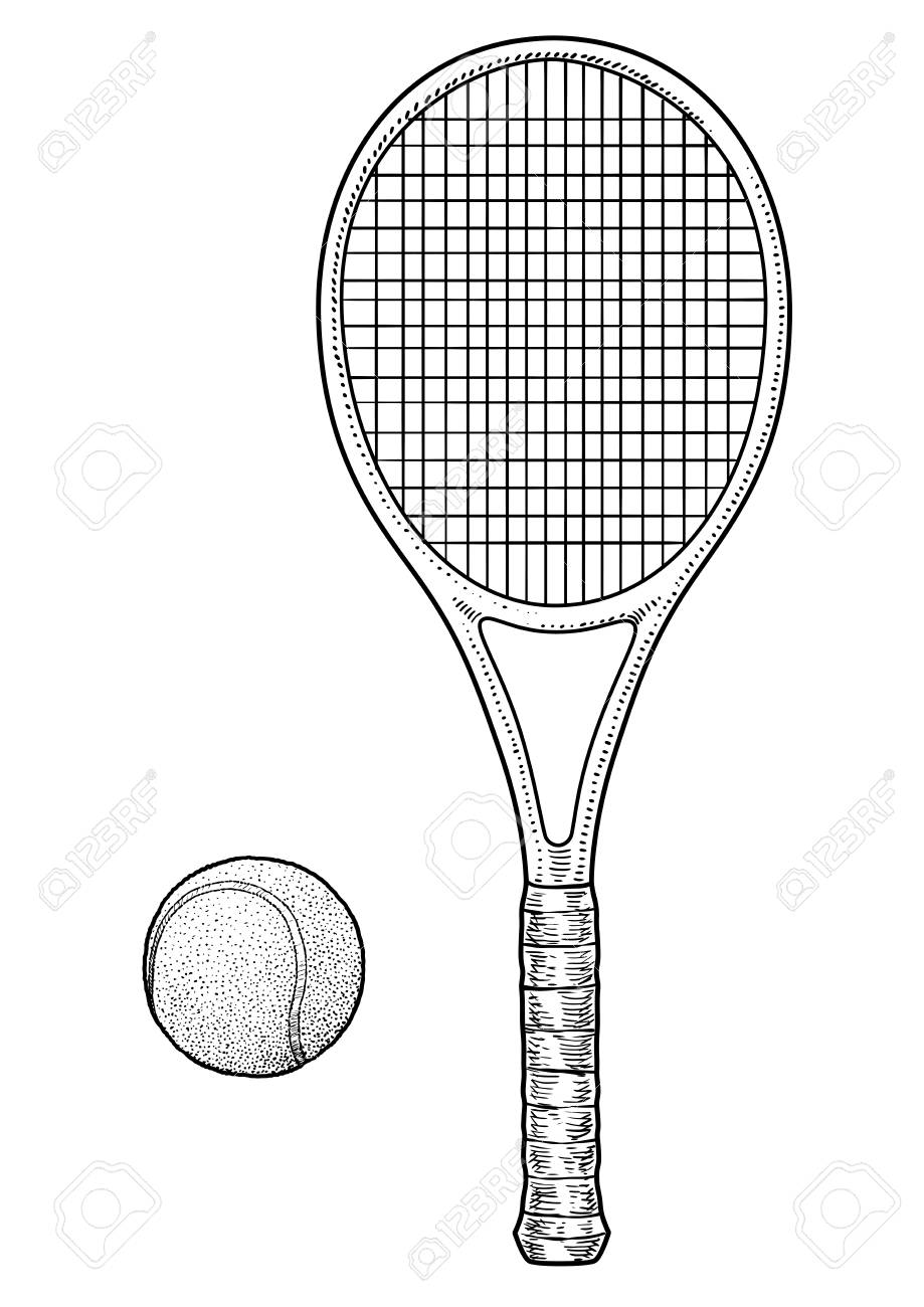 Tennis Racket And Ball Illustration Drawing Engraving Ink