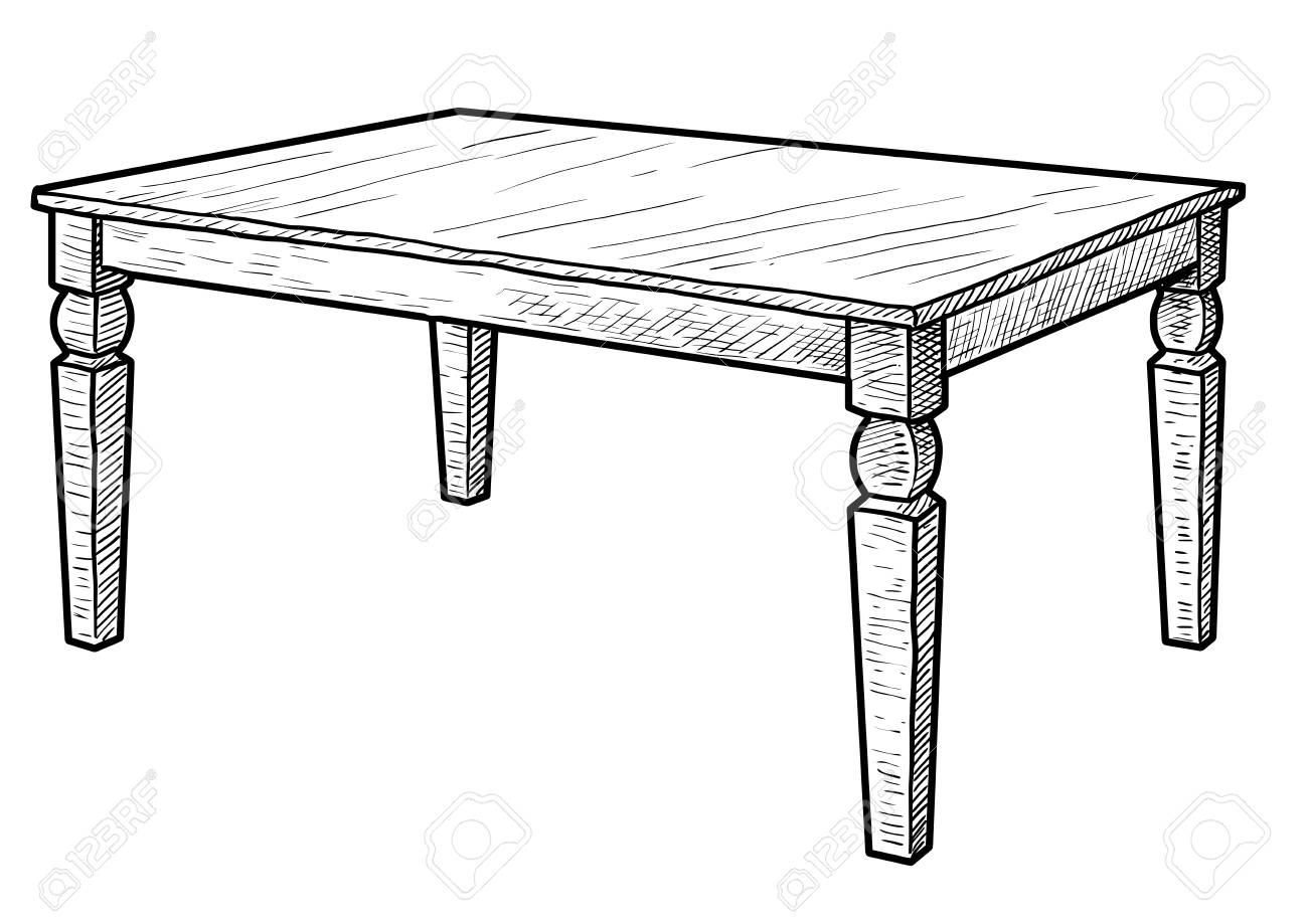 Wooden Table Illustration Drawing Engraving Ink Line Art Vector Royalty Free Cliparts Vectors And Stock Illustration Image 115419450