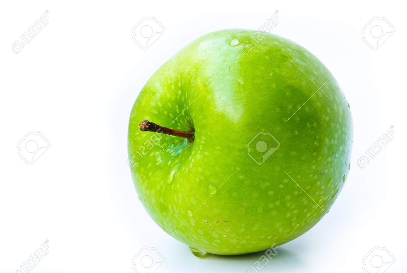 green apples on a white background Stock Photo - 17459387