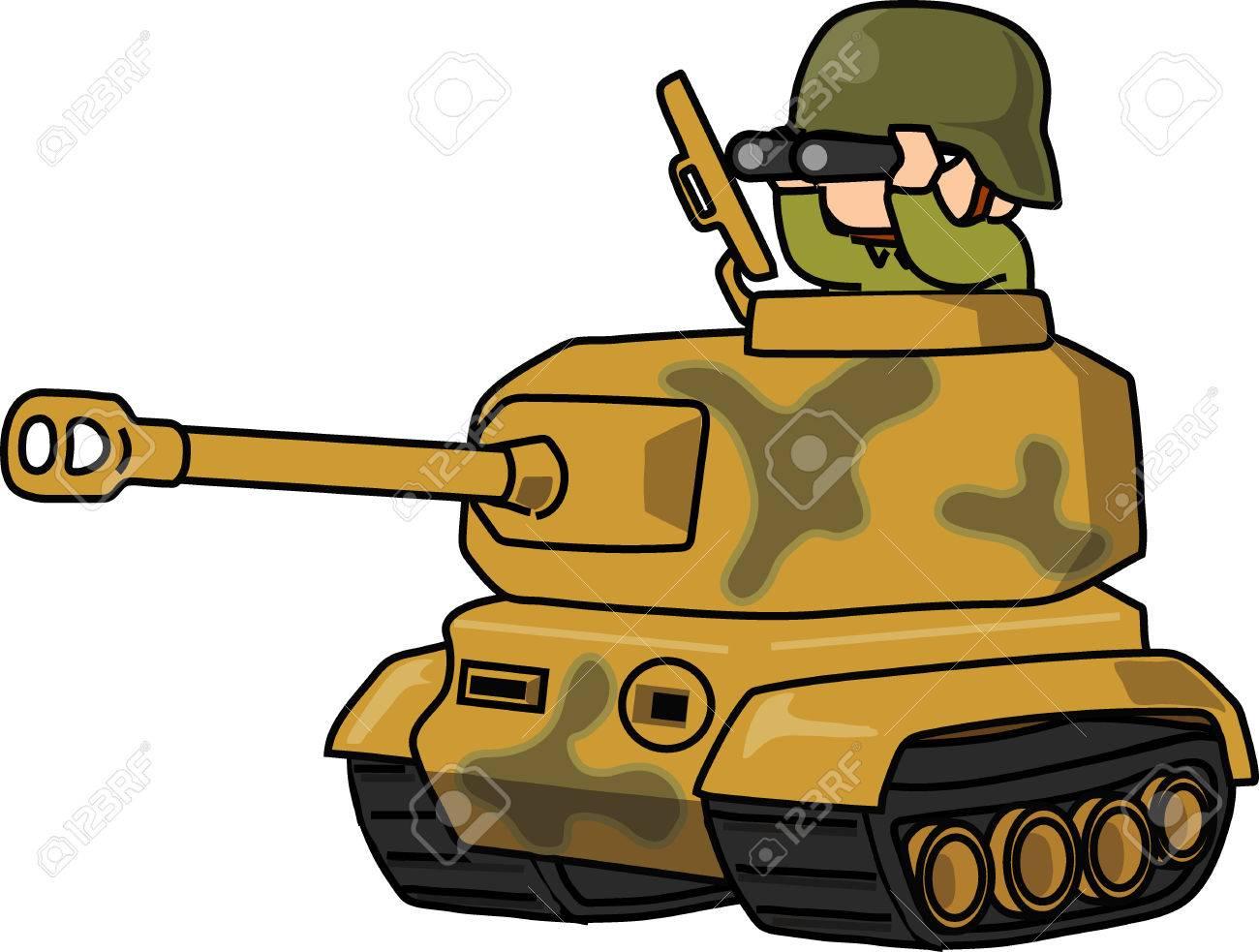 cartoon army with tiger tank vector illustration on white rh 123rf com