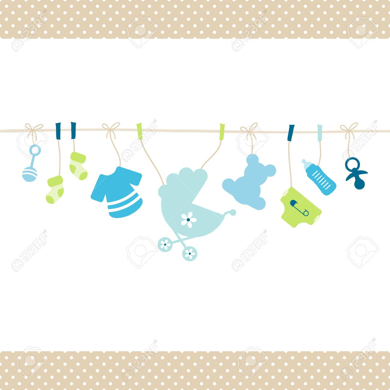 Hanging Baby Boy Icons Straight String Dots Border Beige - 125128210
