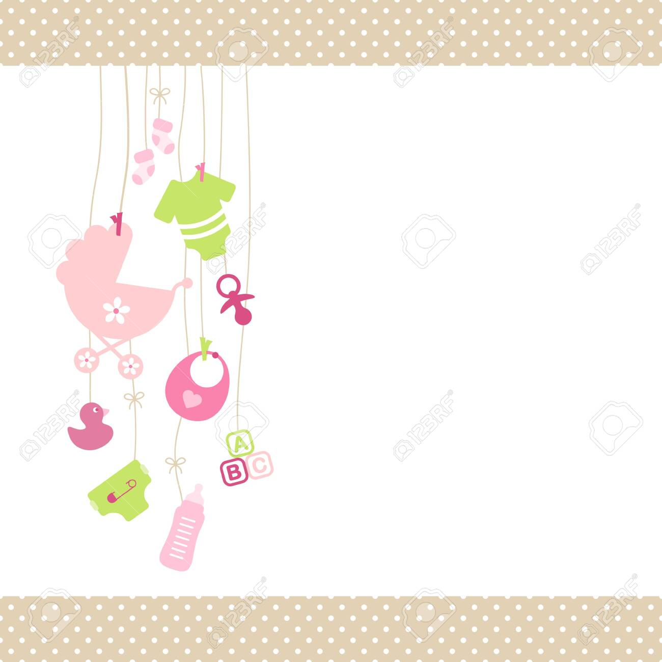 Left Hanging Baby Girl Icons Pink And Green Dot Border Beige - 128239621