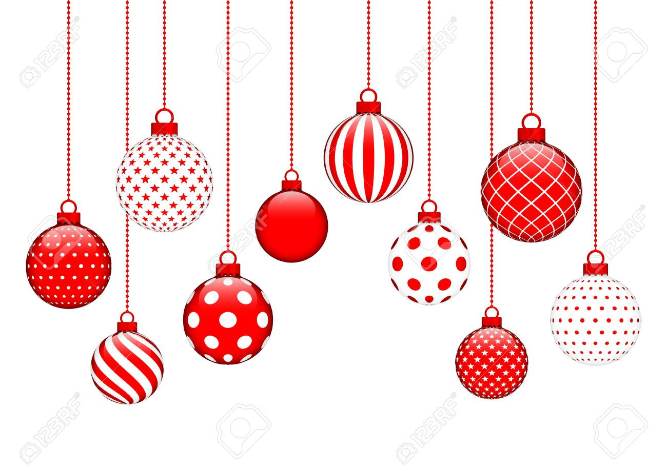 Card Ten Hanging Christmas Balls Pattern Red And White - 128892118