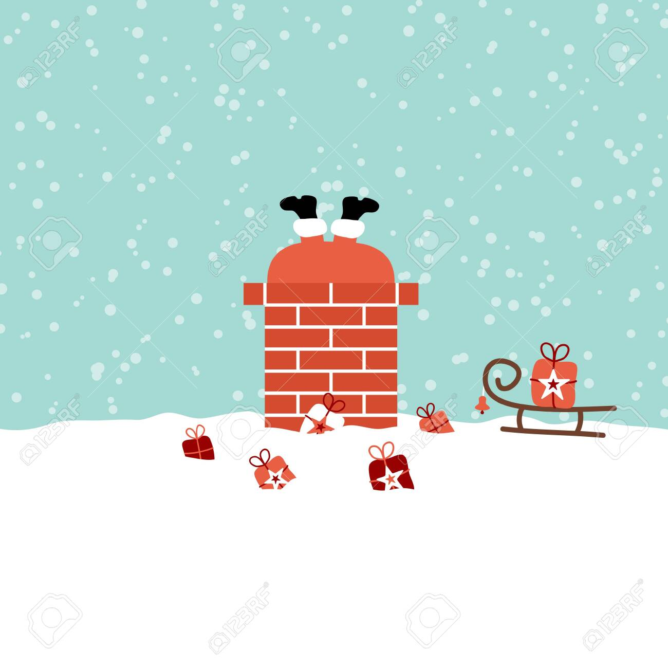 Santa Stuck In Chimney On Roof Snow Turquoise - 130480324