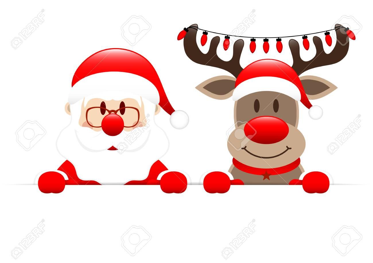 Santa Claus And Reindeer Holding Christmas Lights Horizontal Banner - 132715997