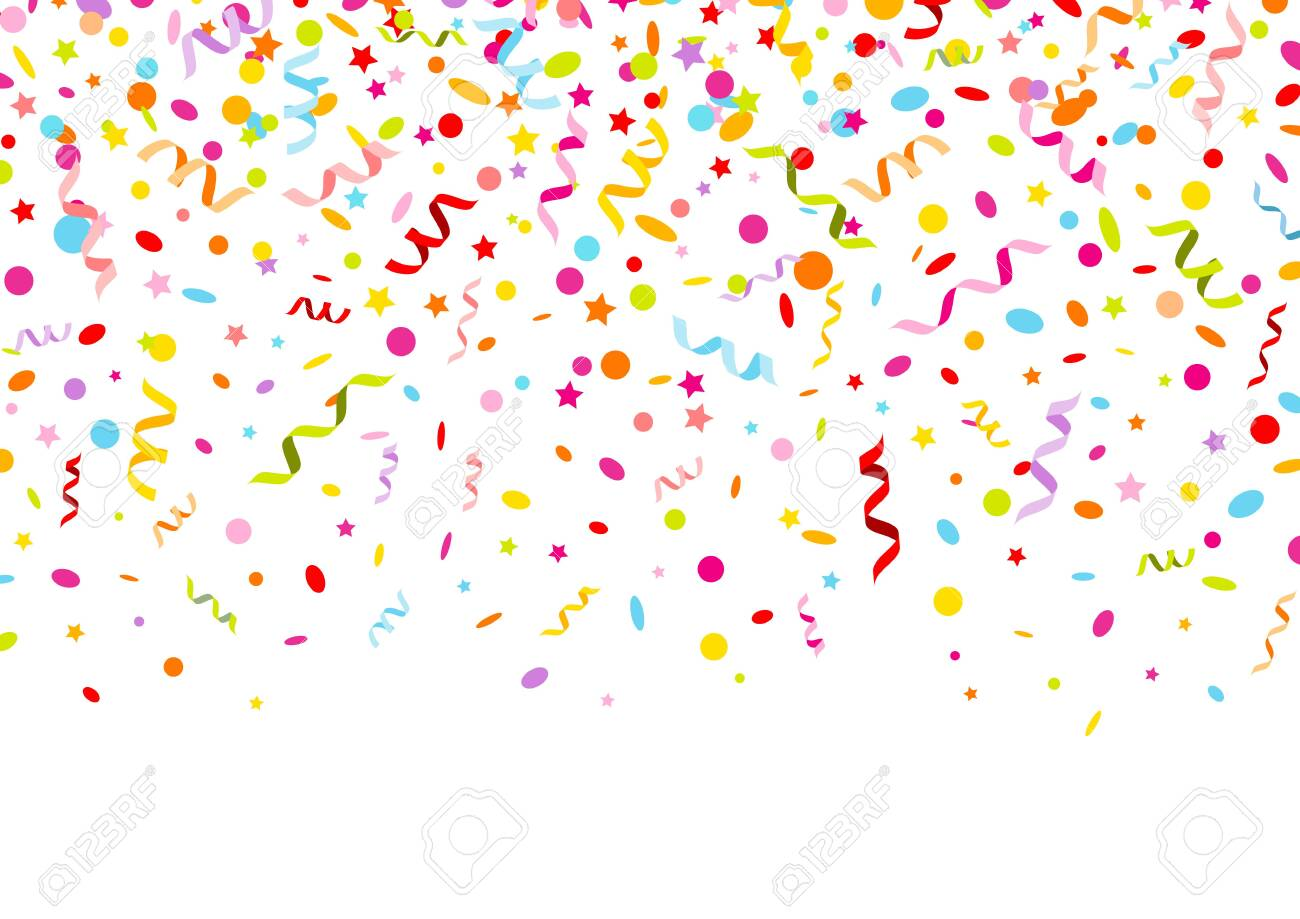 Horizontal banner graphic colorful streamers confetti and stars - 136143424