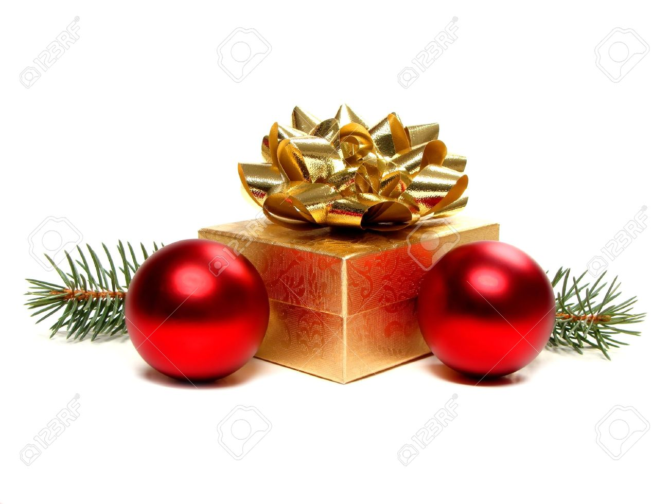 Gold and red ornaments - Gold Christmas Gift Box With Bow And Baubles Stock Photo 11074593