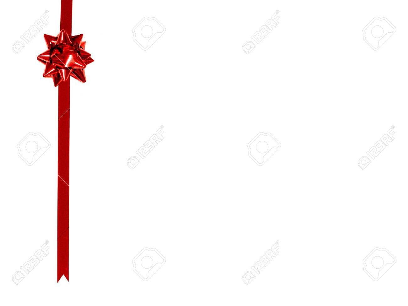 White Backgrounds With Colorful Borders Red Gift Bow and Ribbon Border