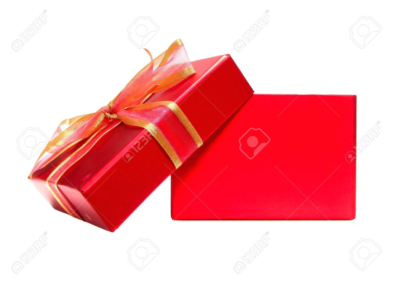 Red gift bows border with clipping path for easy background removing - Red Box Empty Red Gift Box With Lid And Bow On A White Background