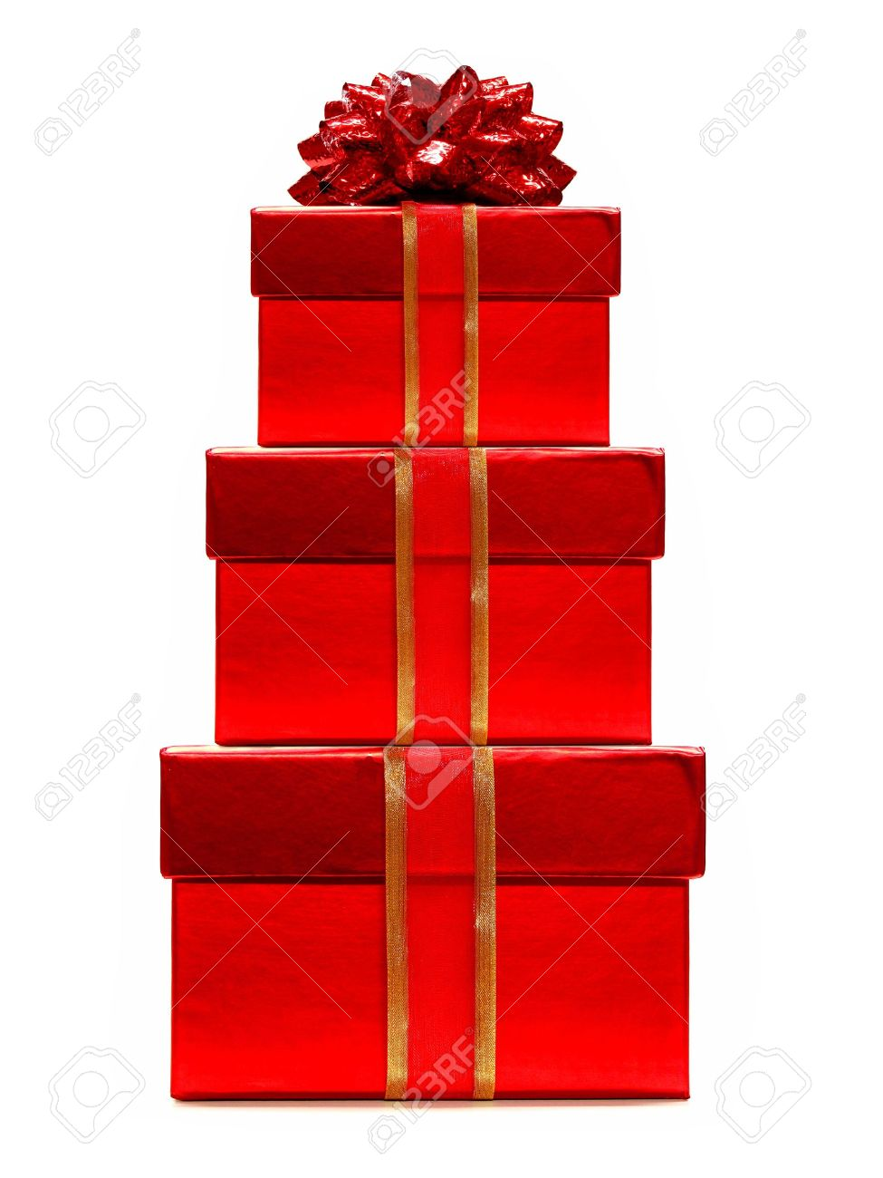 Red Christmas Gifts Stacked - With Ribbon And Bow Stock Photo ...