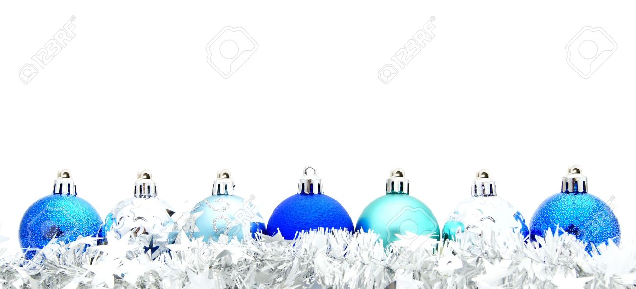 Blue Christmas Bauble Border With Silver Garland Stock Photo