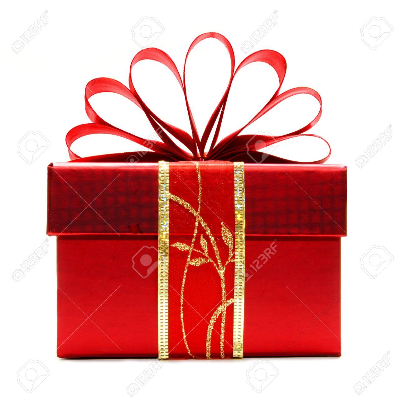 Rode Kerst Cadeau Doos Met Lint En Boog Geïsoleerd Op Een Witte Achtergrond