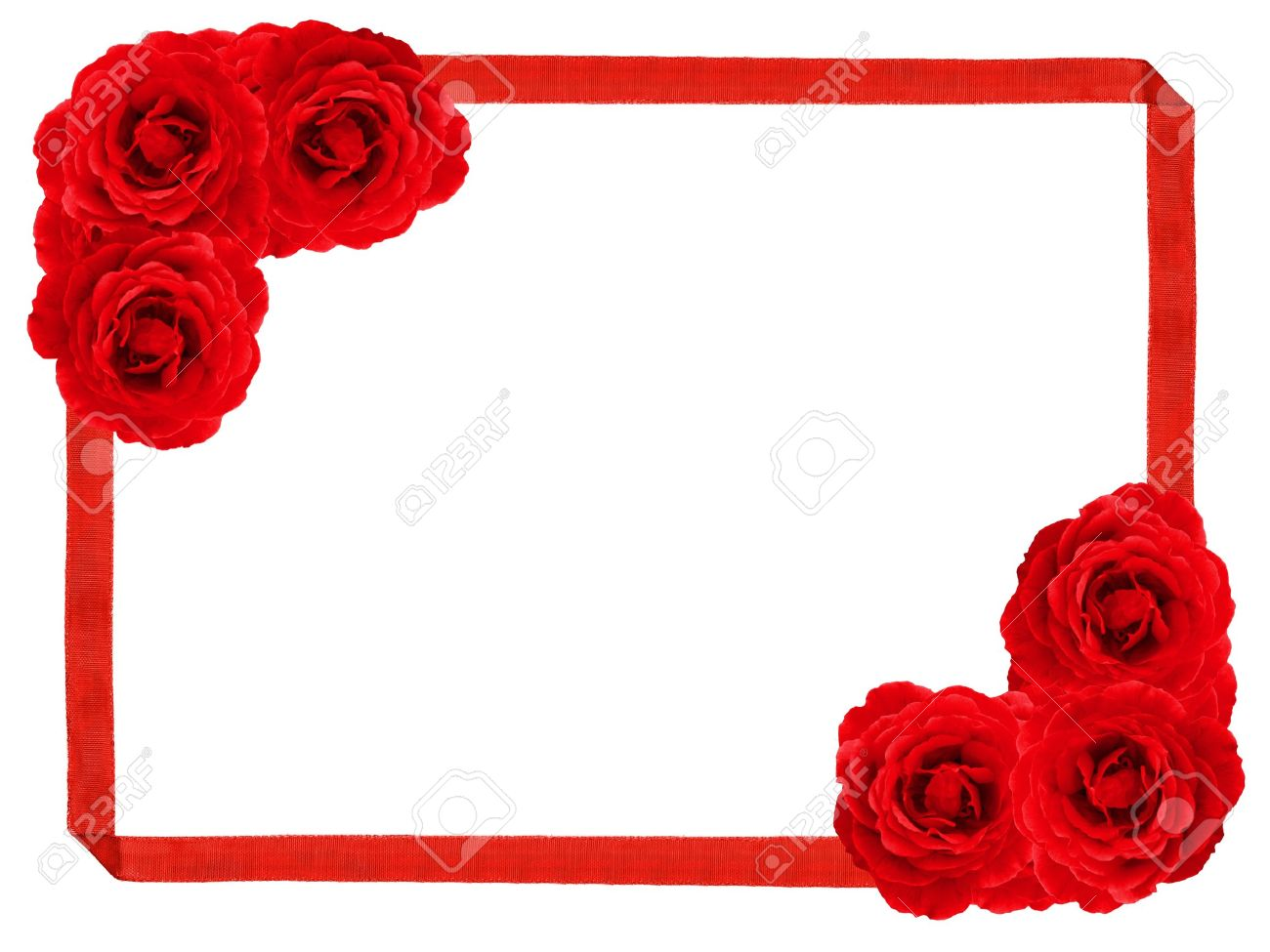 Red rose and ribbon frame Stock Photo - 11808494