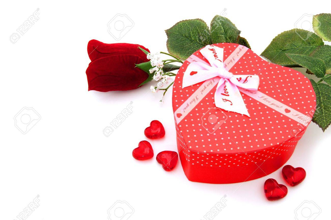 Heart Shaped Valentines Day Gift Box With Rose Over A White