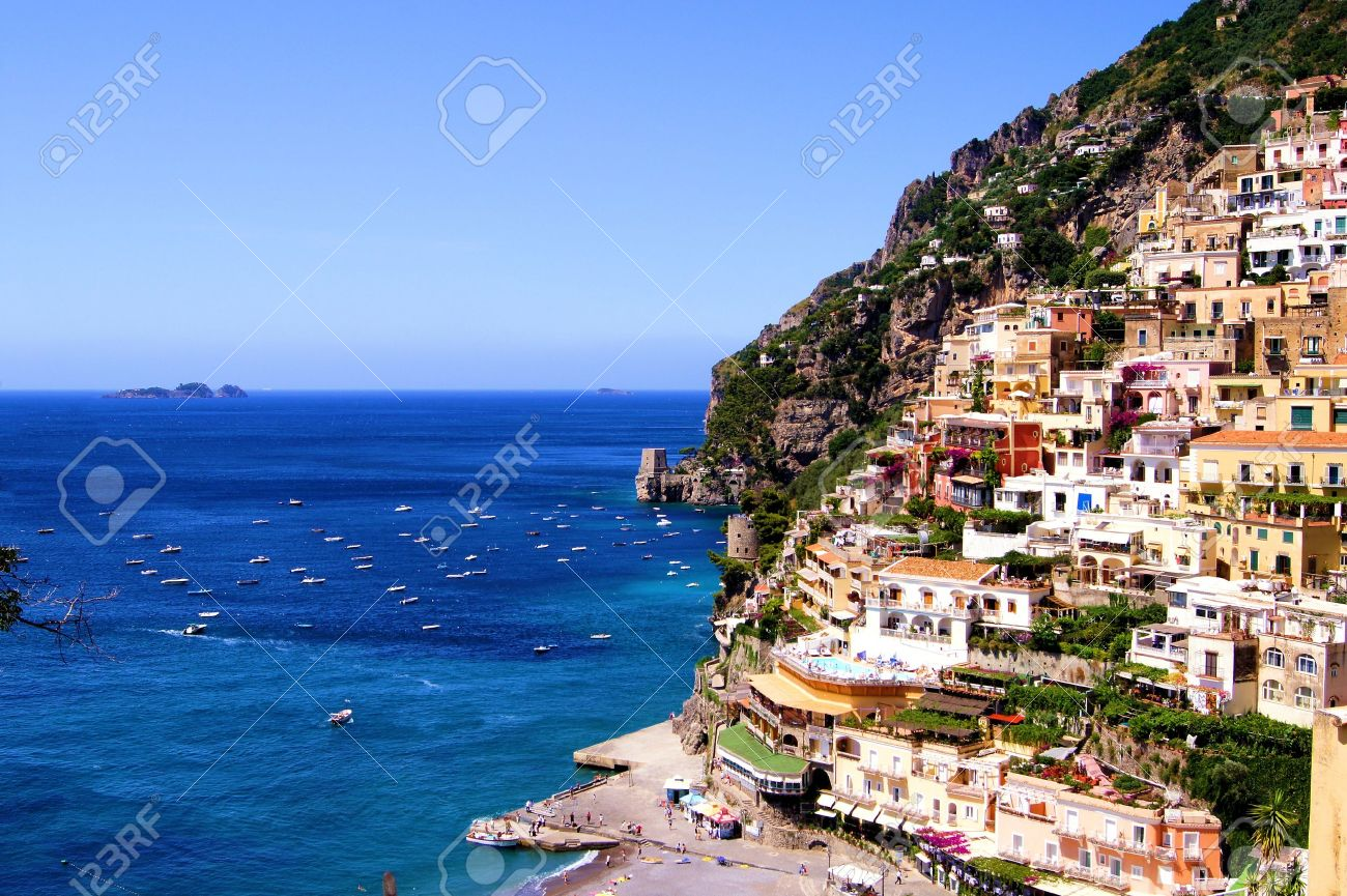View towards the coastal town of Positano on the Amalfi coast of Italy Stock Photo - 12066116